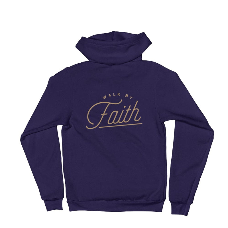 Walk by Faith Christian Zip Up Hoodie - XS / Navy - Sweatshirts