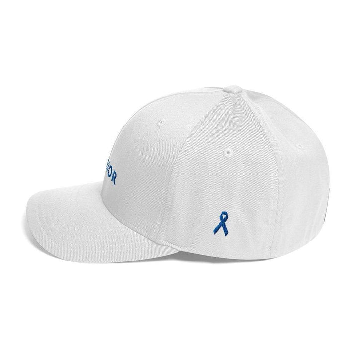 Warrior & Colon Cancer Awareness Fitted Twill Baseball Hat With Dark Blue Ribbon - Hats