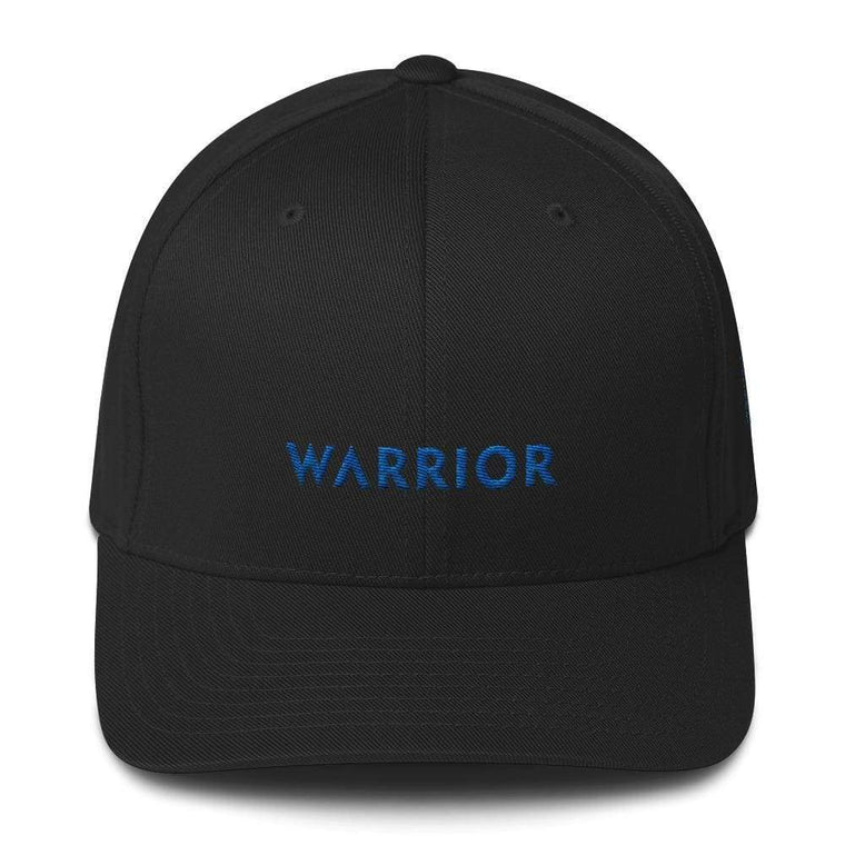 Warrior & Colon Cancer Awareness Fitted Twill Baseball Hat with Dark Blue Ribbon