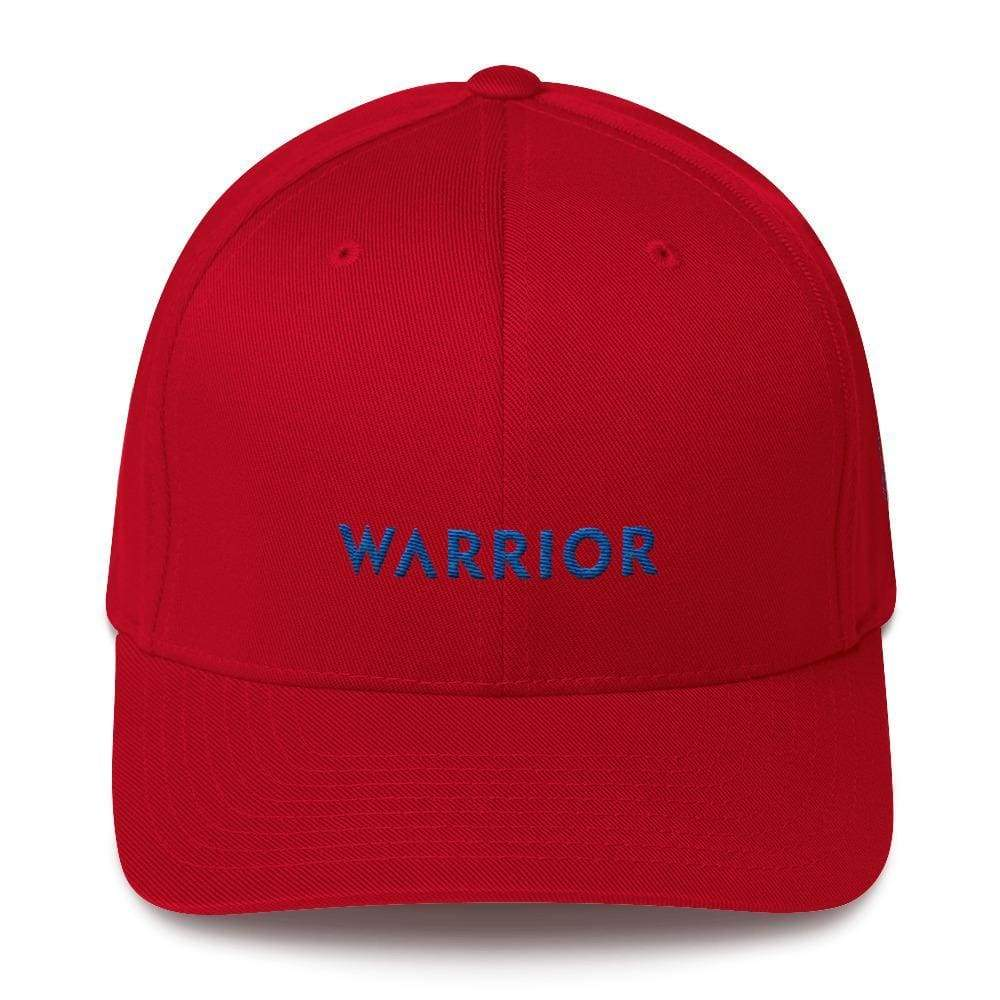Warrior & Colon Cancer Awareness Fitted Twill Baseball Hat With Dark Blue Ribbon - S/m / Red - Hats