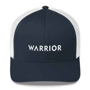 Load image into Gallery viewer, Warrior Snapback Trucker Hat - One-size / Navy/ White - Hats