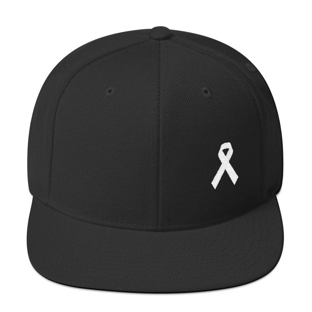 Load image into Gallery viewer, White Awareness Ribbon Flat Brim Snapback Hat - One-size / Black - Hats