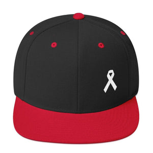Load image into Gallery viewer, White Awareness Ribbon Flat Brim Snapback Hat - One-size / Black/ Red - Hats