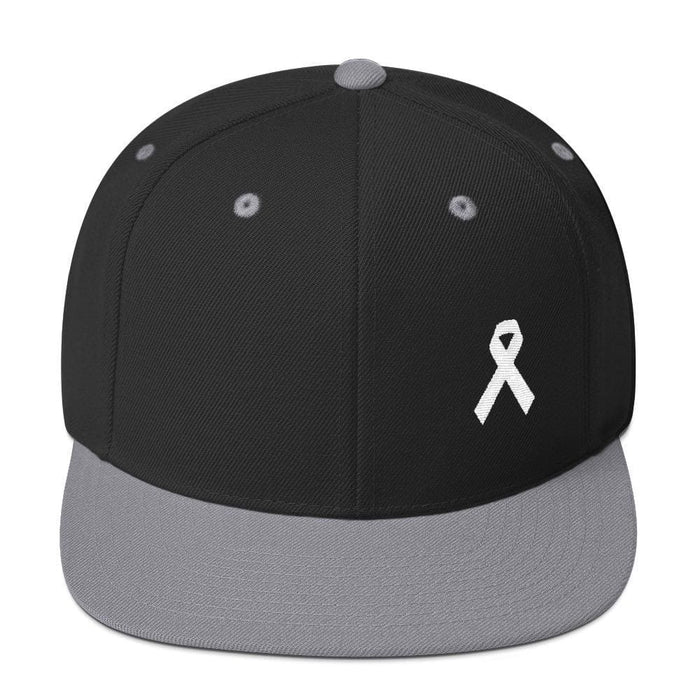 White Awareness Ribbon Flat Brim Snapback Hat - One-size / Black/ Silver - Hats