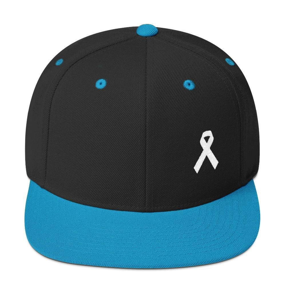 White Awareness Ribbon Flat Brim Snapback Hat - One-size / Black/ Teal - Hats