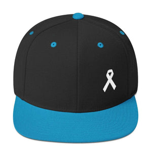 Load image into Gallery viewer, White Awareness Ribbon Flat Brim Snapback Hat - One-size / Black/ Teal - Hats