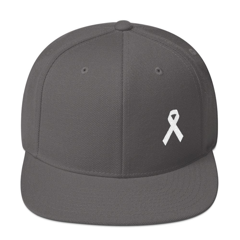 Load image into Gallery viewer, White Awareness Ribbon Flat Brim Snapback Hat - One-size / Dark Grey - Hats