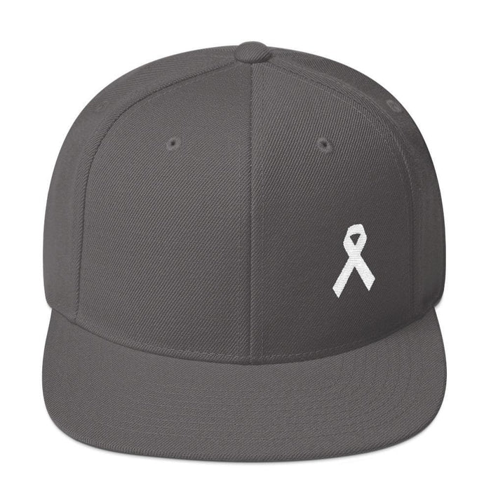 White Awareness Ribbon Flat Brim Snapback Hat - One-size / Dark Grey - Hats
