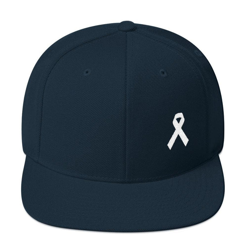White Awareness Ribbon Flat Brim Snapback Hat - One-size / Dark Navy - Hats