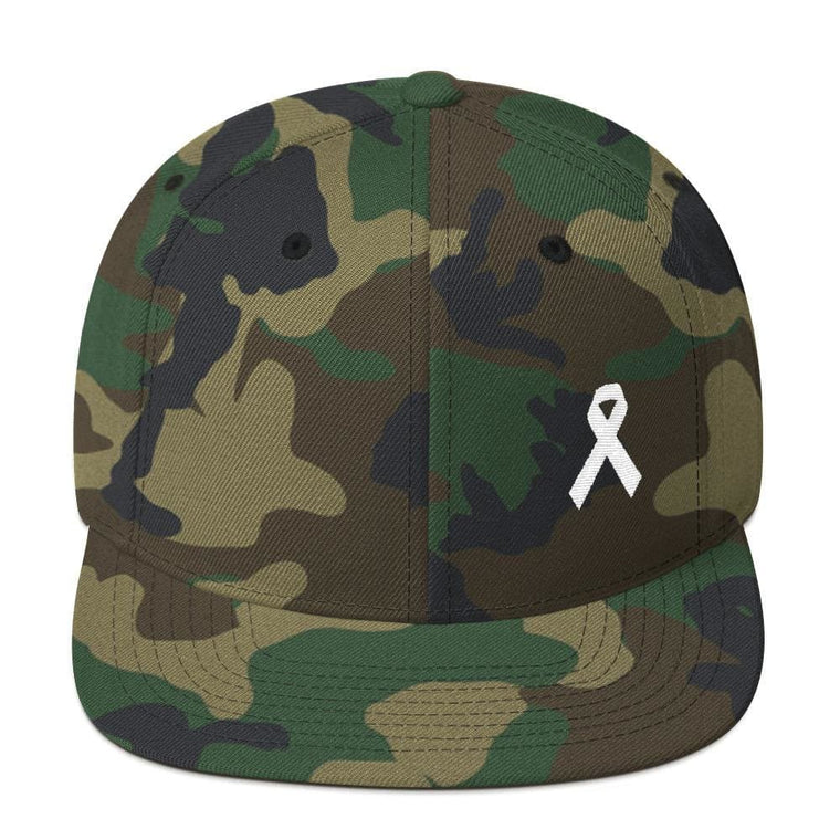 White Awareness Ribbon Flat Brim Snapback Hat