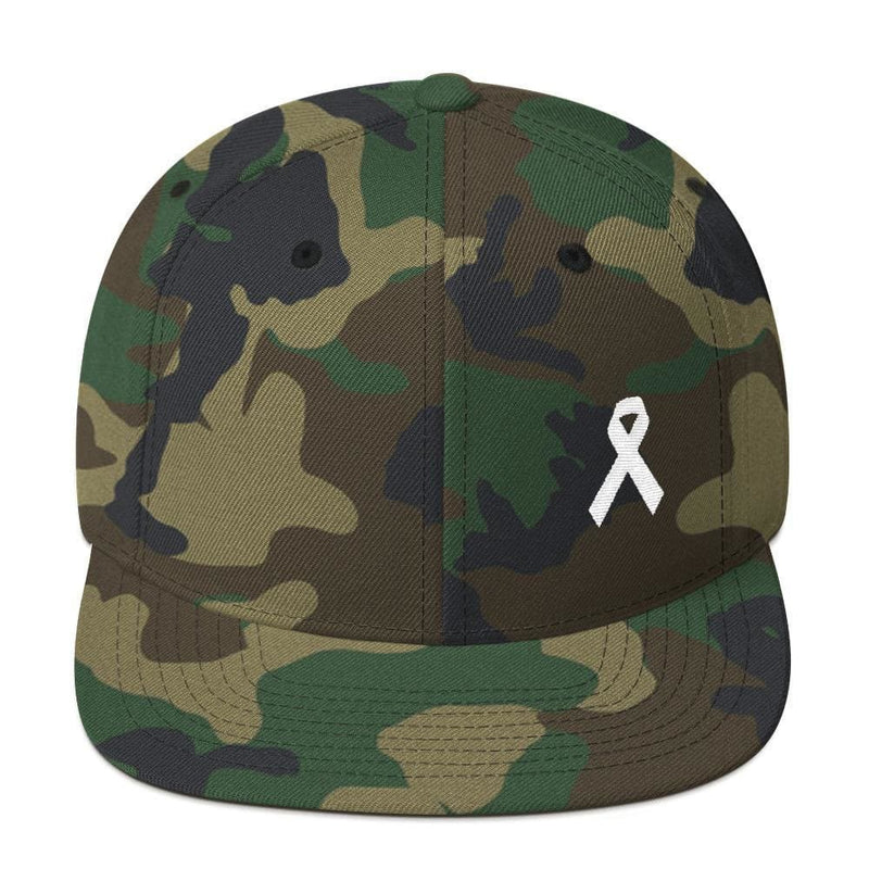 White Awareness Ribbon Flat Brim Snapback Hat - One-size / Green Camo - Hats