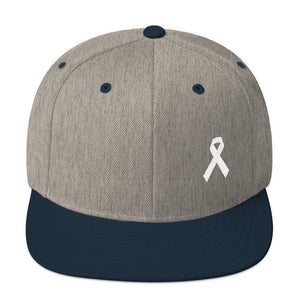 Load image into Gallery viewer, White Awareness Ribbon Flat Brim Snapback Hat - One-size / Heather Grey/ Navy - Hats