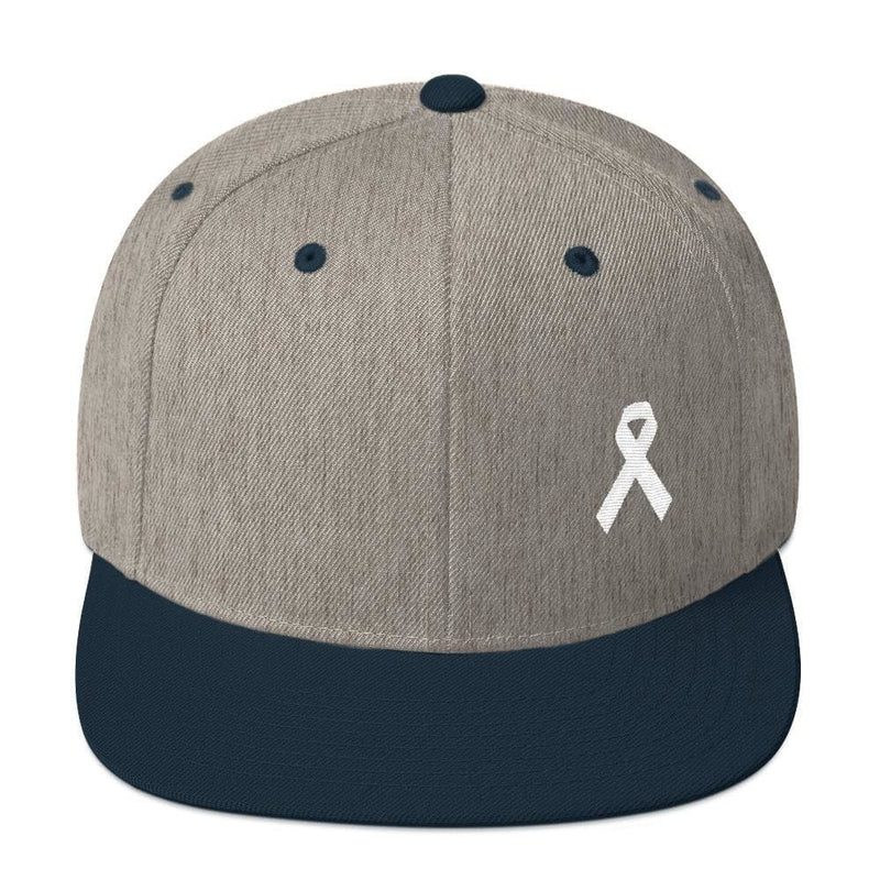 White Awareness Ribbon Flat Brim Snapback Hat - One-size / Heather Grey/ Navy - Hats