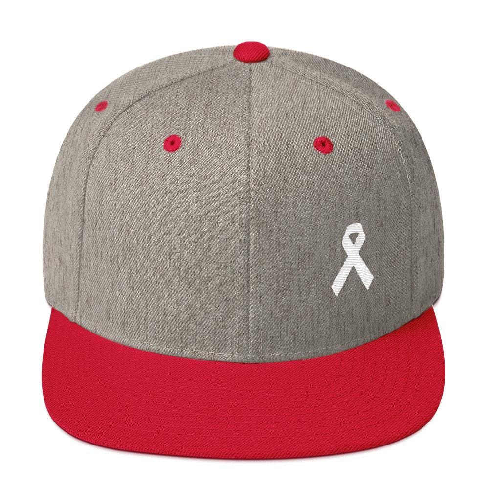 White Awareness Ribbon Flat Brim Snapback Hat - One-size / Heather Grey/ Red - Hats
