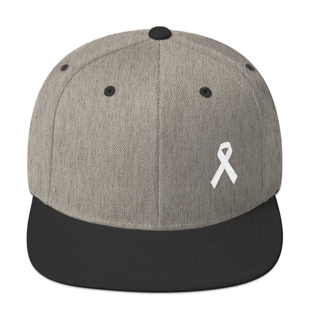 White Awareness Ribbon Flat Brim Snapback Hat - One-size / Heather/Black - Hats