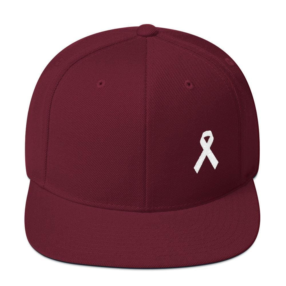 White Awareness Ribbon Flat Brim Snapback Hat - One-size / Maroon - Hats