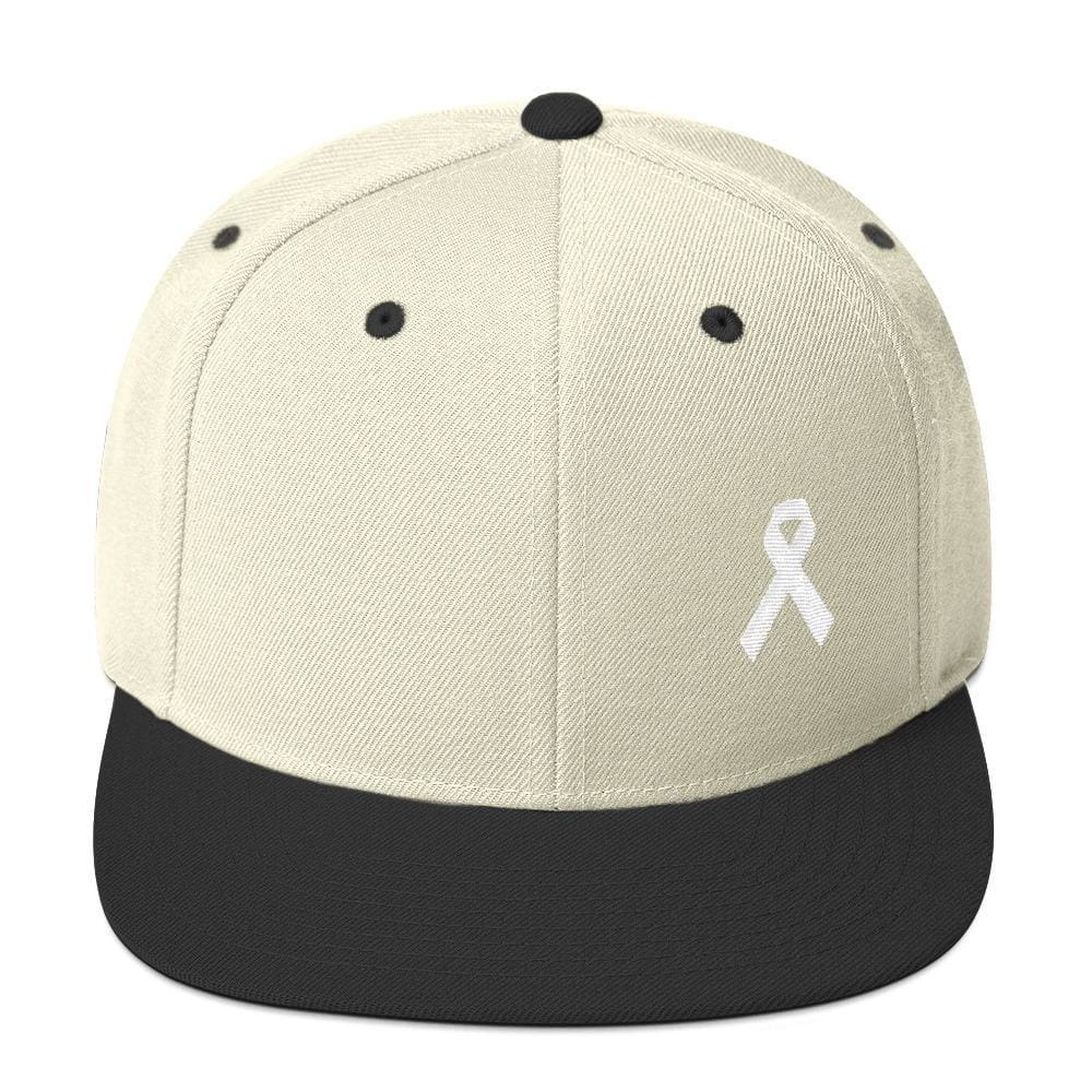 Load image into Gallery viewer, White Awareness Ribbon Flat Brim Snapback Hat - One-size / Natural/ Black - Hats