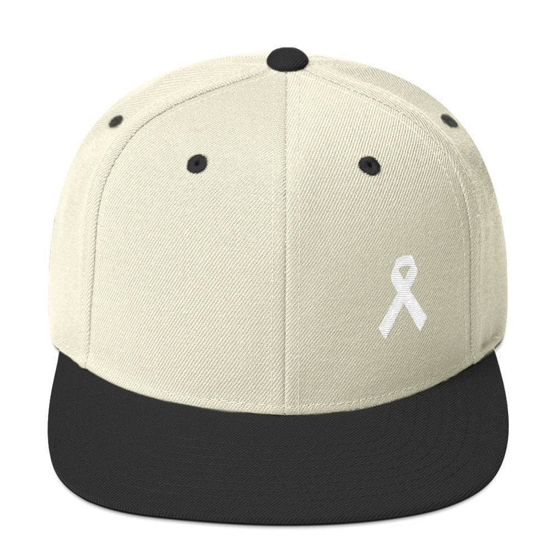 White Awareness Ribbon Flat Brim Snapback Hat - One-size / Natural/ Black - Hats
