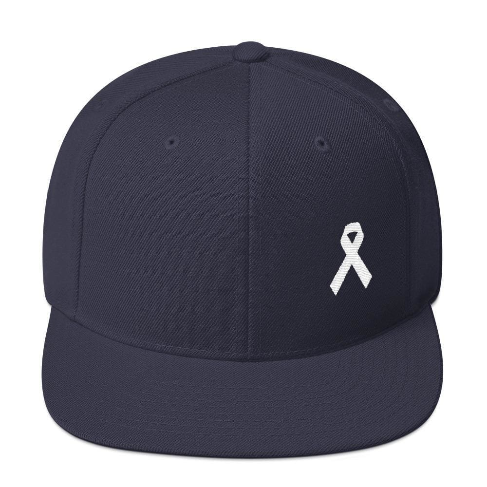 Load image into Gallery viewer, White Awareness Ribbon Flat Brim Snapback Hat - One-size / Navy - Hats