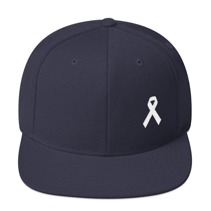 White Awareness Ribbon Flat Brim Snapback Hat - One-size / Navy - Hats