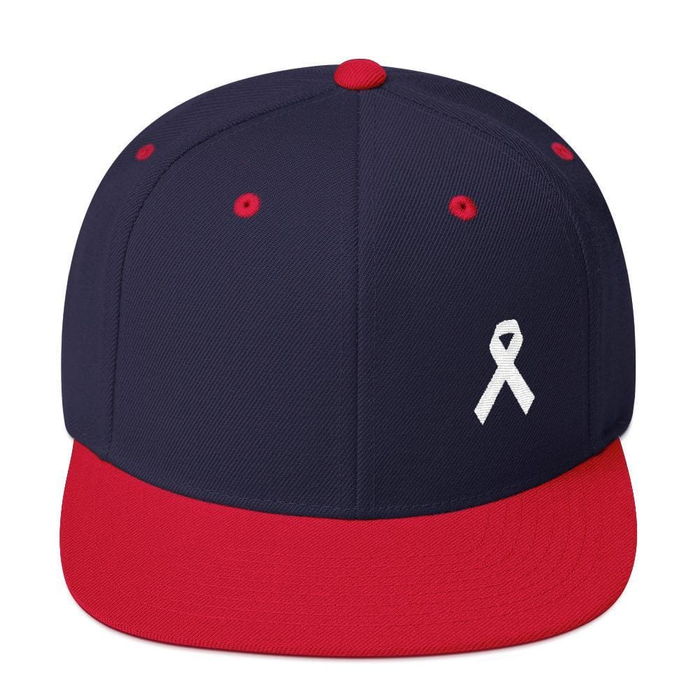 White Awareness Ribbon Flat Brim Snapback Hat - One-size / Navy/ Red - Hats