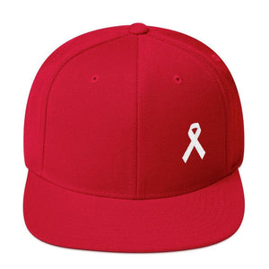 White Awareness Ribbon Flat Brim Snapback Hat - One-size / Red - Hats