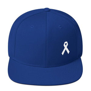 White Awareness Ribbon Flat Brim Snapback Hat - One-size / Royal Blue - Hats