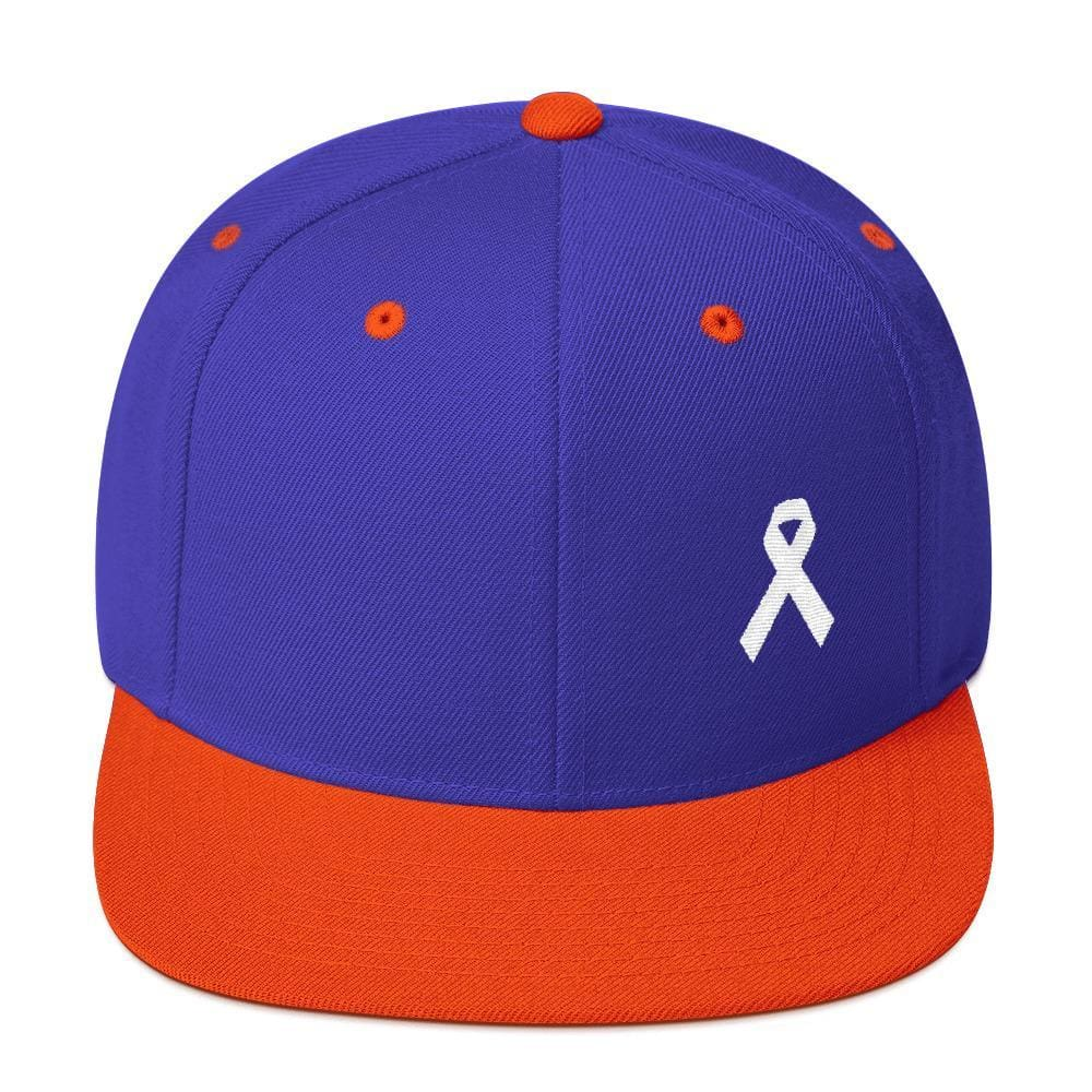 White Awareness Ribbon Flat Brim Snapback Hat - One-size / Royal/ Orange - Hats