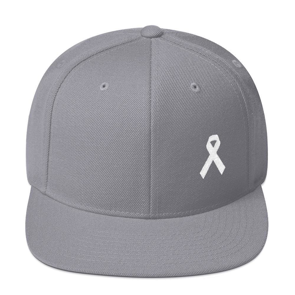 White Awareness Ribbon Flat Brim Snapback Hat - One-size / Silver - Hats