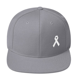 Load image into Gallery viewer, White Awareness Ribbon Flat Brim Snapback Hat - One-size / Silver - Hats