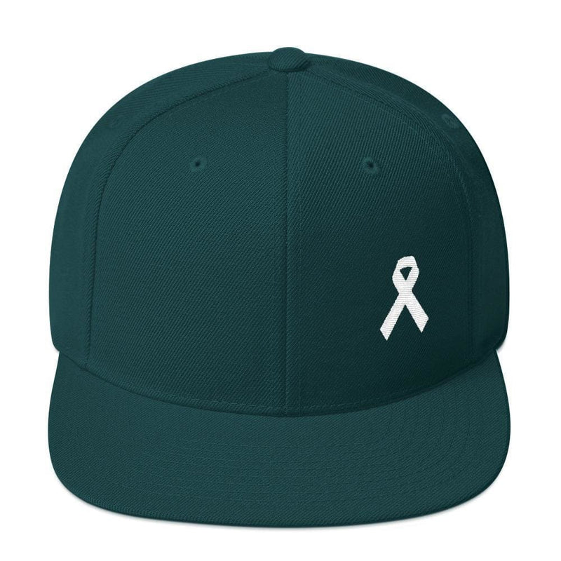 White Awareness Ribbon Flat Brim Snapback Hat - One-size / Spruce - Hats