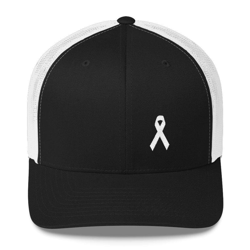 White Ribbon Awareness Snapback Trucker Hat - One-size / Black/ White - Hats