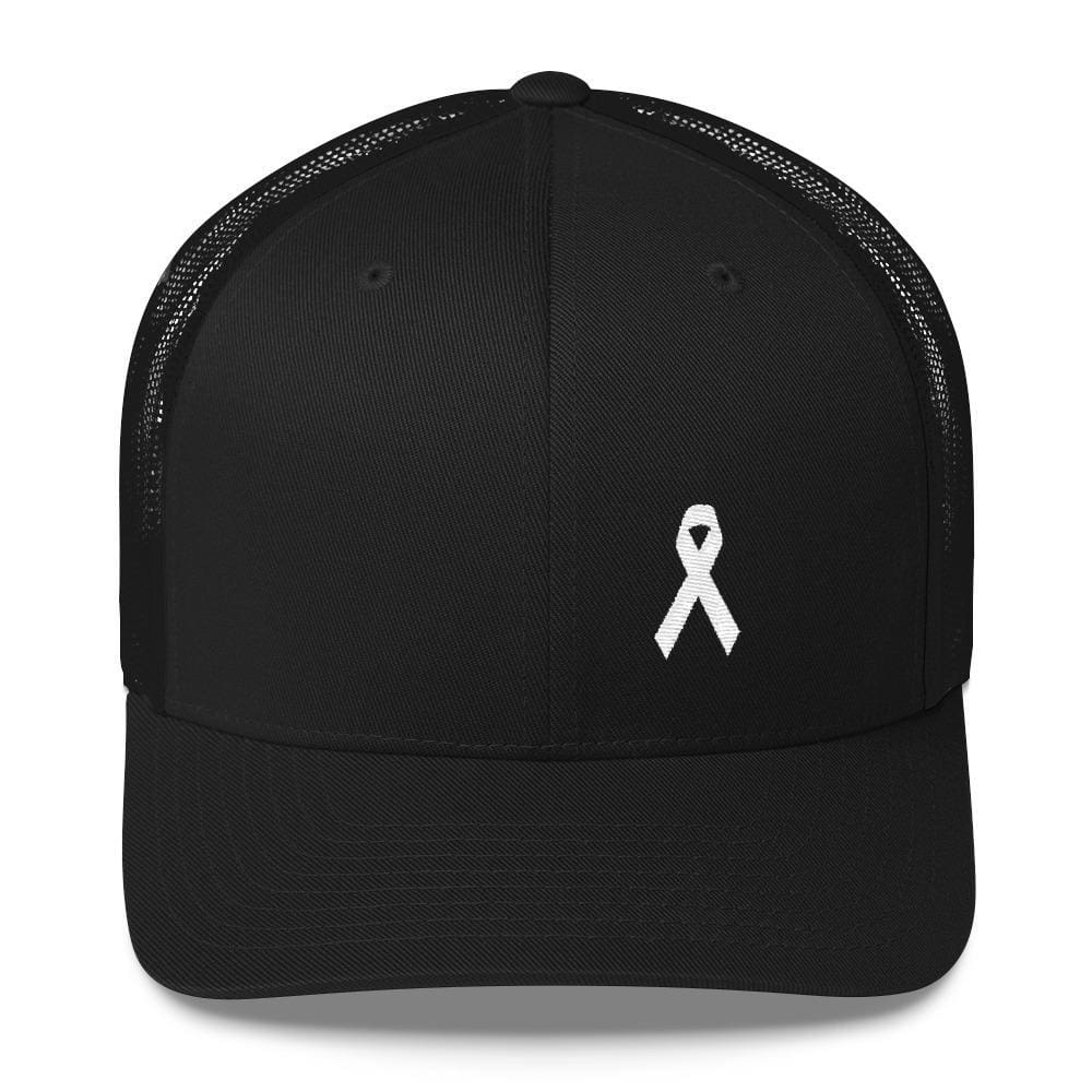 White Ribbon Awareness Snapback Trucker Hat - One-size / Black - Hats