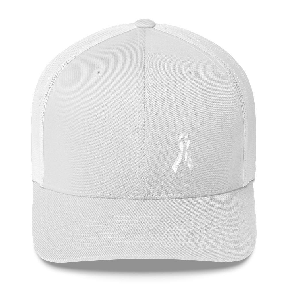 White Ribbon Awareness Snapback Trucker Hat - One-size / White - Hats