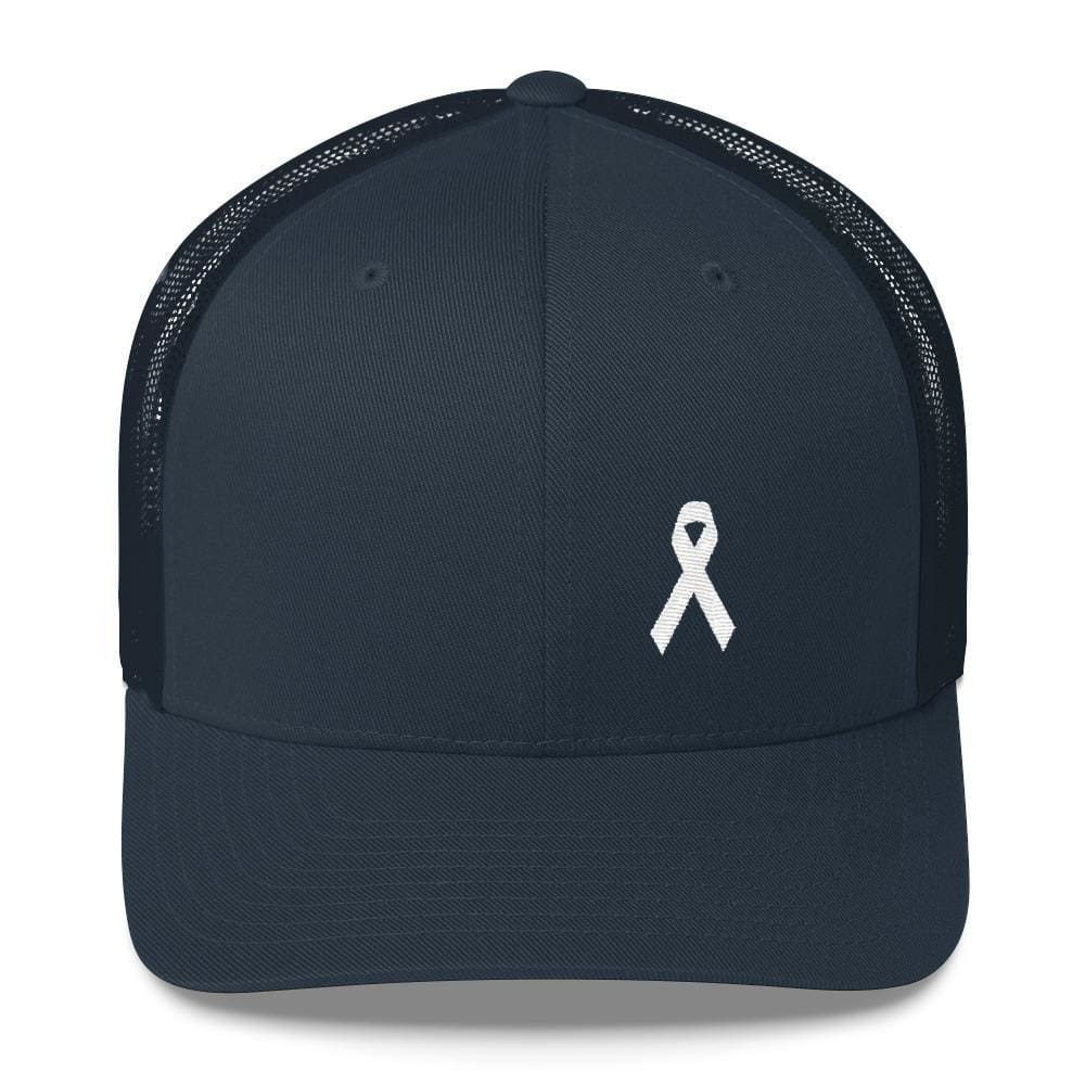 White Ribbon Awareness Snapback Trucker Hat - One-size / Navy - Hats