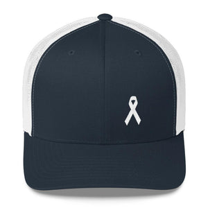 White Ribbon Awareness Snapback Trucker Hat - One-size / Navy/ White - Hats
