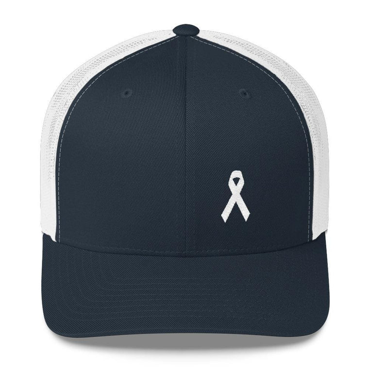 70095a73e1ac2 White Ribbon Hats - Lung Cancer Awareness   Supporting the End of ...