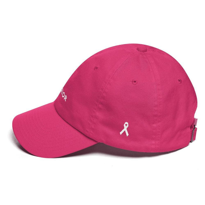 White Ribbon & Warrior Embroidered Dad Hat for Lung Cancer Awareness - Hats
