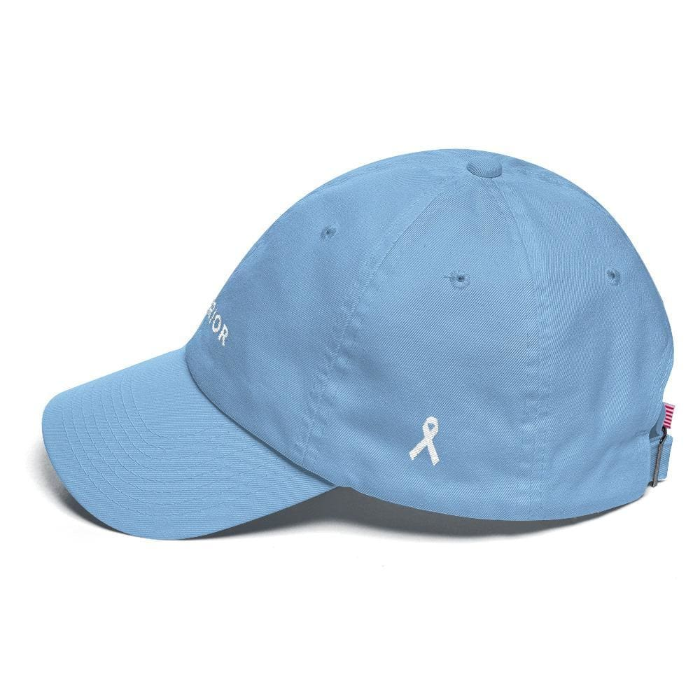 Load image into Gallery viewer, White Ribbon & Warrior Embroidered Dad Hat for Lung Cancer Awareness - Hats
