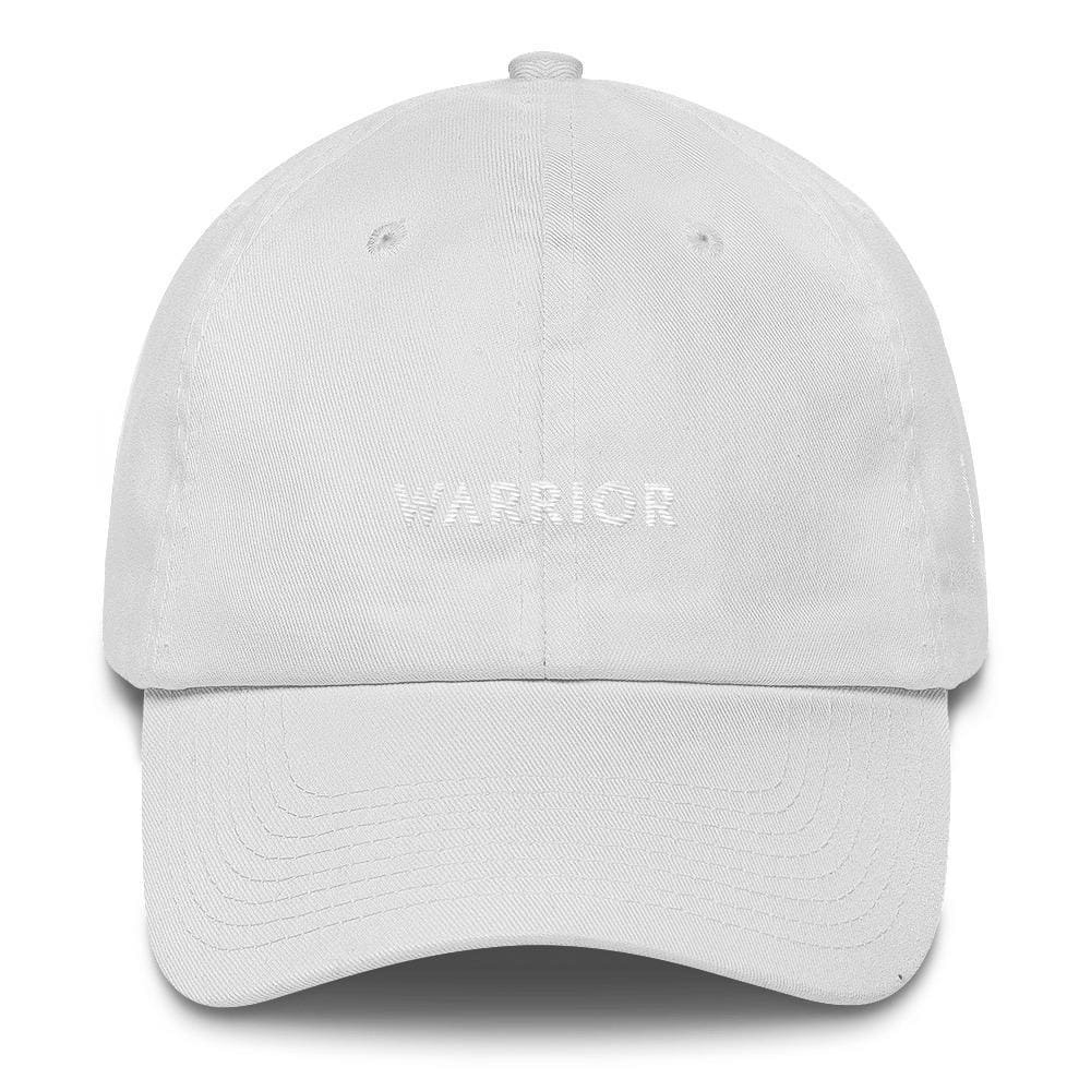 White Ribbon & Warrior Embroidered Dad Hat for Lung Cancer Awareness - One-size / White - Hats