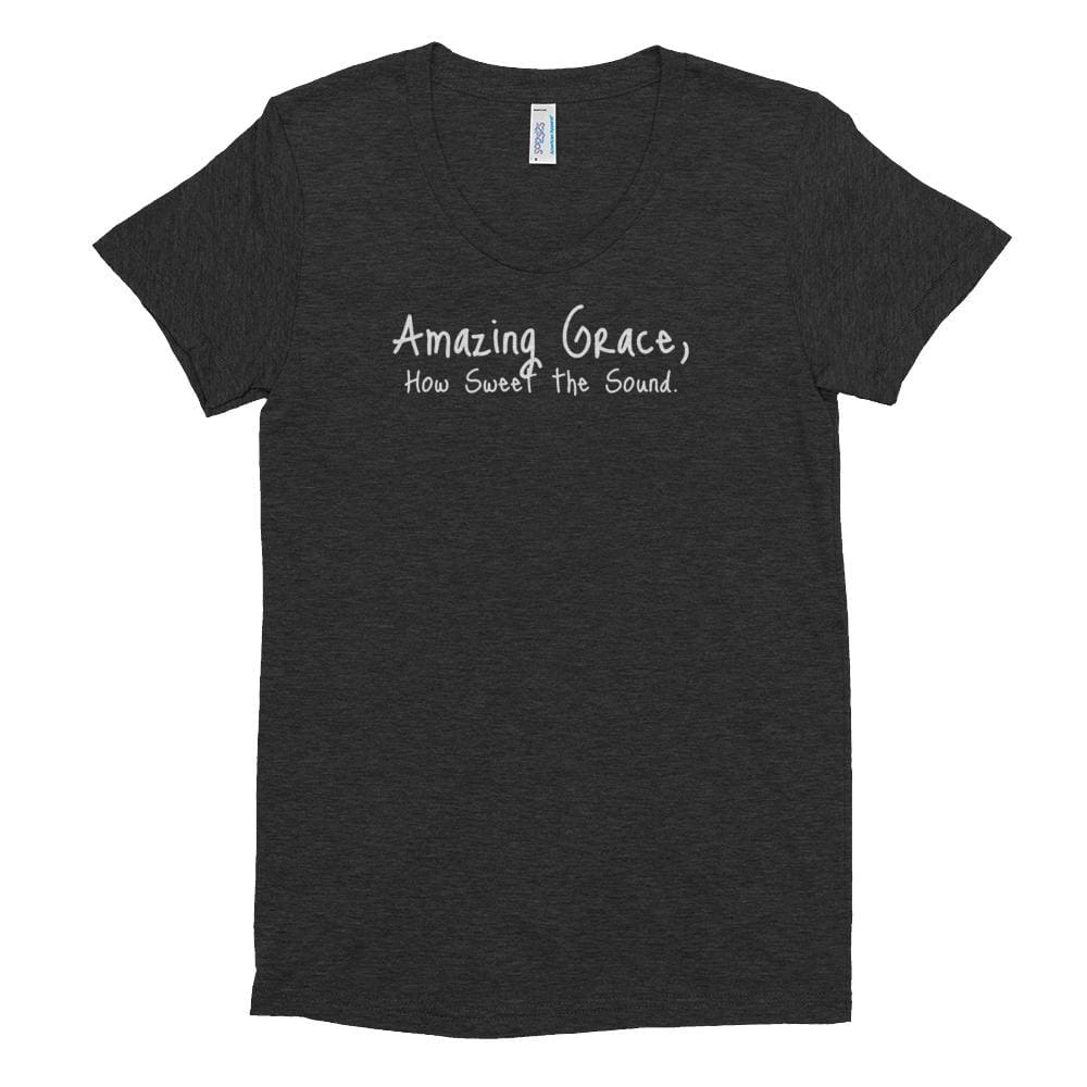 Load image into Gallery viewer, Womens Amazing Grace Christian Crew Neck T-shirt - S / Tri-Black - T-Shirts