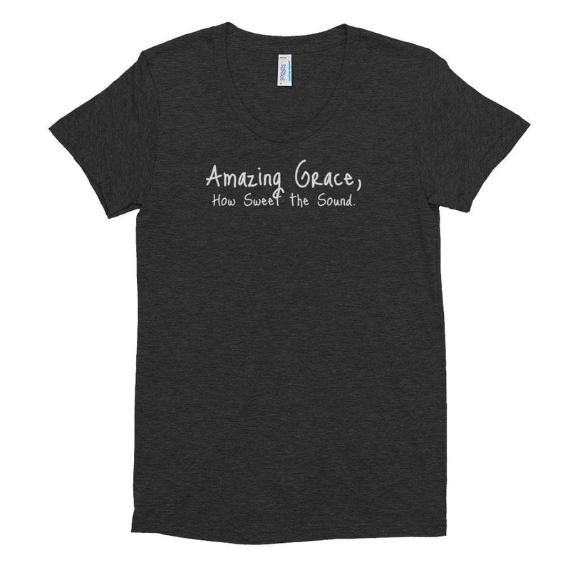 Womens Amazing Grace Christian Crew Neck T-shirt - S / Tri-Black - T-Shirts