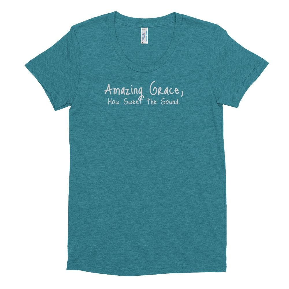 Womens Amazing Grace Christian Crew Neck T-shirt - S / Tri-Evergreen - T-Shirts