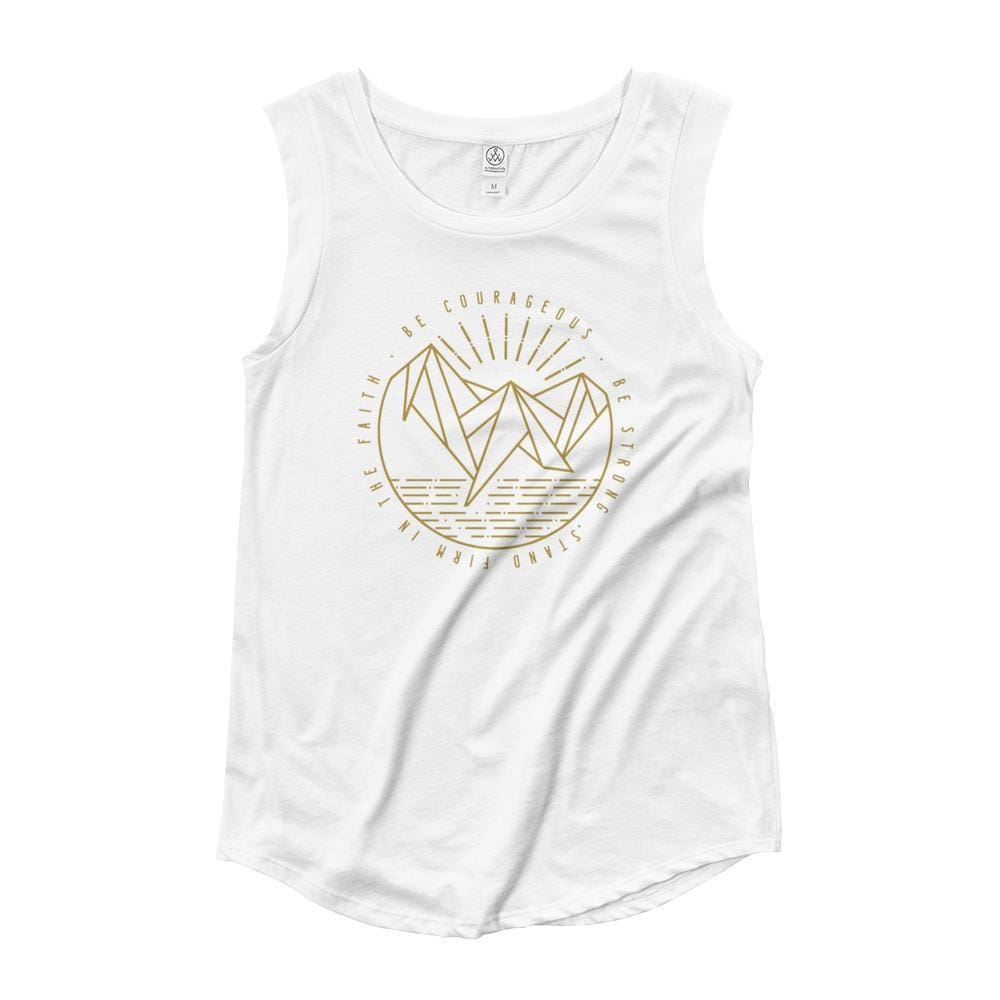 Womens Be Courageous Be Strong Stand Firm in the Faith Christian Muscle Tank Top - S / White - Tank Tops