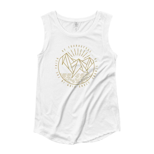 Women's Be Courageous, Be Strong, Stand Firm in the Faith Christian Muscle Tank Top