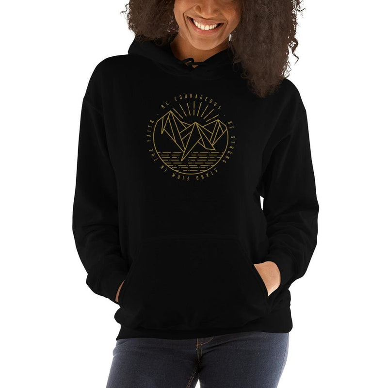 Womens Be Courageous Be Strong Stand Firm in the Faith Hooded Sweatshirt - S / Black - Sweatshirts