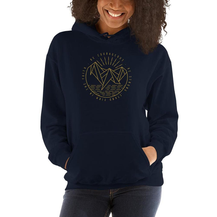 Womens Be Courageous Be Strong Stand Firm in the Faith Hooded Sweatshirt - S / Navy - Sweatshirts