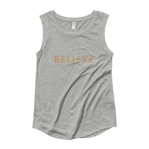 Womens Believe Muscle Tank Top (Gold Print) - S / Heather Grey - Tank Tops