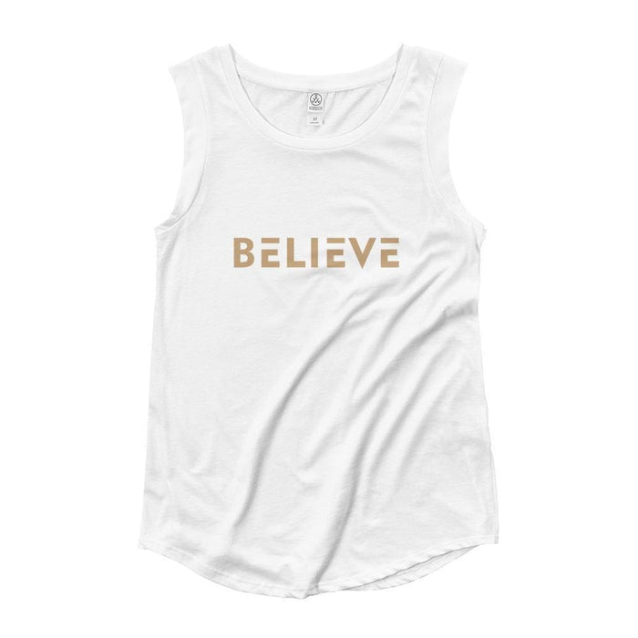 Womens Believe Muscle Tank Top (Gold Print) - S / White - Tank Tops