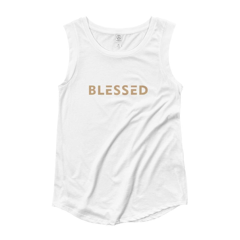 Womens Blessed Muscle Tank Top (Gold Print) - S / White - Tank Tops